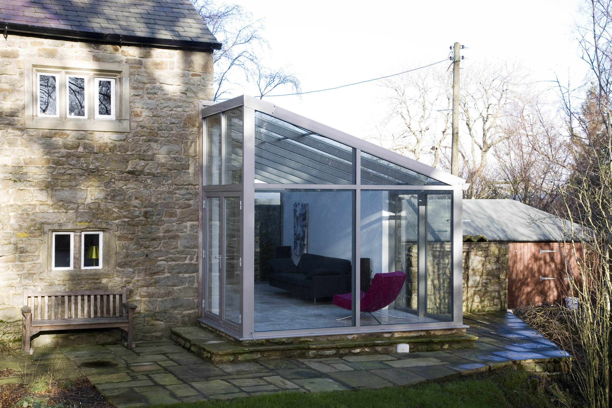 Glass extensions can be built wherever they suit a property best.