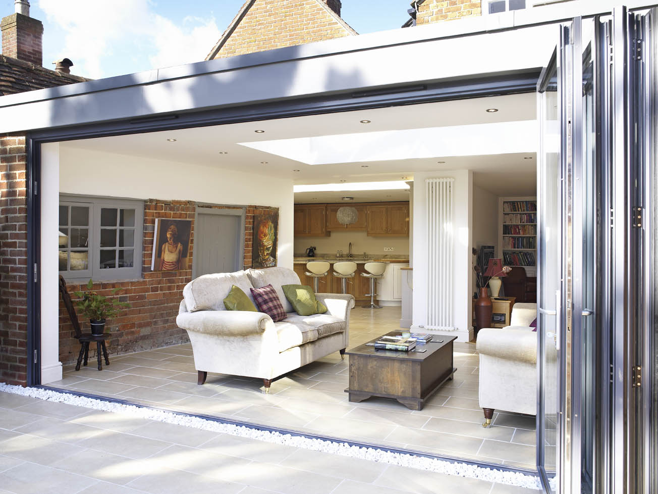 Fantastic foursome of folding sliding doors apropos for Orangery interior design ideas